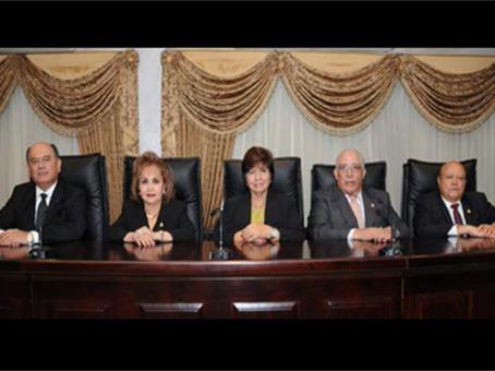 Sala de lo constitucional integrada por Elmer Lizardo Carranza, Estela Cardona,  Silvia Santos, Víctor Manuel Lozano y Vicente García.