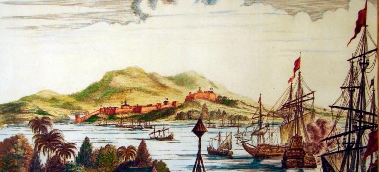 Este es un antiguo grabado holandés donde se muestra la intensa actividad de Trujillo y que en el fondo aparece la Fortaleza de Santa Bárbara