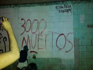Este mural recuerda los 3,000 muertos provocados por el saqueo al IHSS
