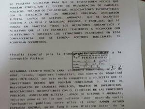Esta es la copia de recepción de la denuncia extendida por el Ministerio Público.