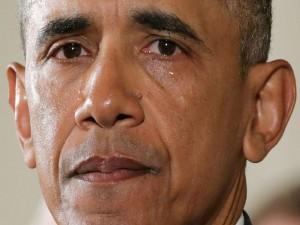 La gráfica muestra como las lágrimas corrían sobre las mejillas del mandatario estadounidense.