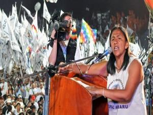 La diputada indigenista Milagro Sala en uno de sus duscursos