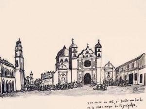 Este dibujo recrea la protesta de la gente en la plaza