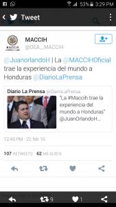 Esta fue la publicación que hizo Juan Hernández en su cuenta de Twitter y que tras la aclaración de la MACCIH fue borrada