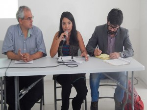 Oscar Castro, Ivania Galeano y Edy Tabora durante la conferencia de prensa