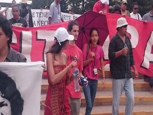 """Berta Cáceres Zúniga en la marcha de este día con la gente del encuentro internacional """"Berta Cáceres Vive"""""""