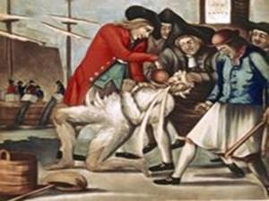 Los bostonianos pagandole al recaudador de impuestos en 1774