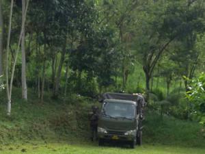 en este camioncito se estaciona los militares en las ceranías de la finca