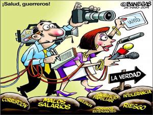 Caricatura alusiva a los periodistas en su día publicada por Darío Banegas