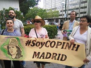 Los catrachos tambien se manifestaron en la capital española donde exigieron justicia para Berta Cáceres