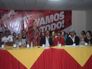 La exsenadora colombiana brindó una conferencia de prensa en la sede de Libre.