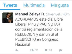 Esto escribió Manuel Zelaya en su twitter alrededor de las 10 de la noche del martes
