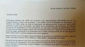 Estan es la nota que los empleados de Alimentos Continental firmaron con la representante de la OABI Eugenia Mourra