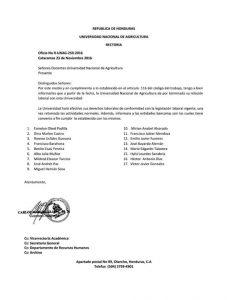 La nota de despido emitida este miércoles por las autoridades de la UNAG.