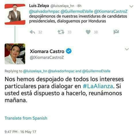 tweet entre Xiomara Castro y Luis Zelaya
