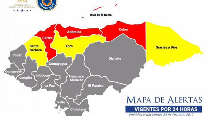 Alerta roja para Islas de la Bahía, Cortés,  Atlántida y Colón