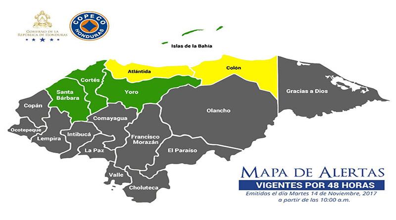 Copeco decreta alerta amarilla para Atlántida y Colón