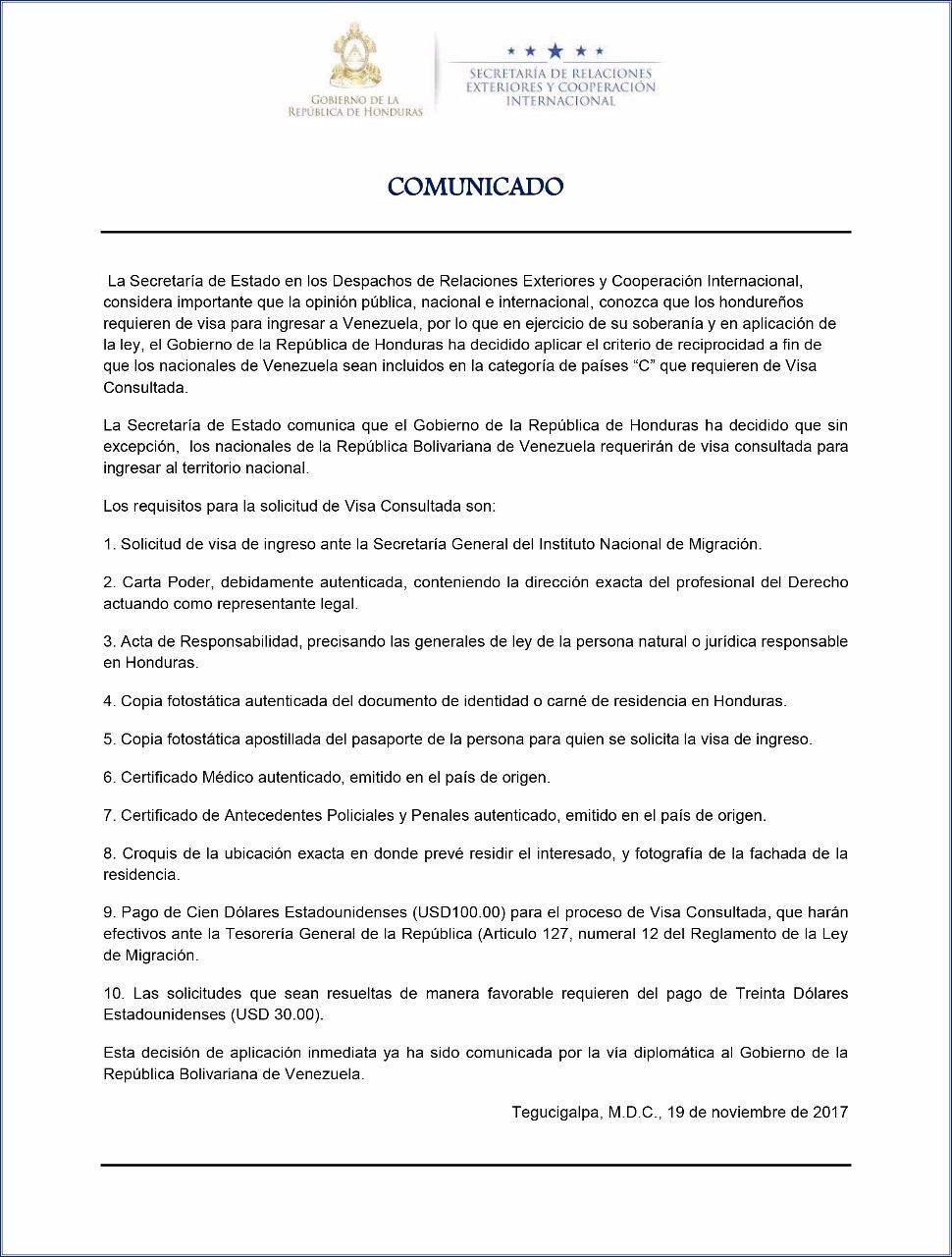 visa consultada a los venezolanos