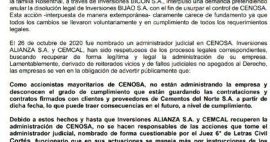 Inversiones Alianza y CEMCAL advierten sobre negociaciones de Cenosa