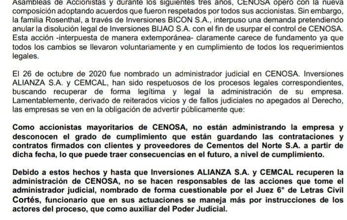 Inversiones Alianza y CEMCAL