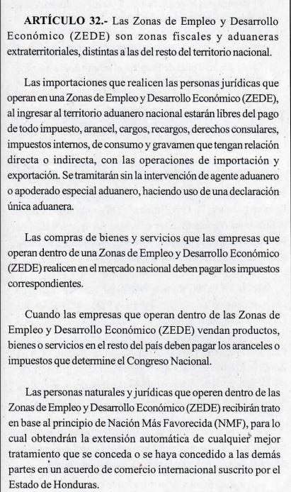 Ley ZEDE Honduras